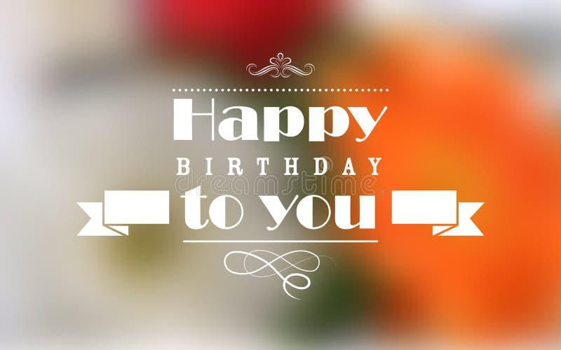 Fondo di tipografia di buon compleanno illustrazione di stock