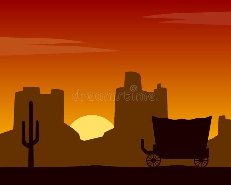 Fondo di tramonto di selvaggi West con la vettura illustrazione di stock