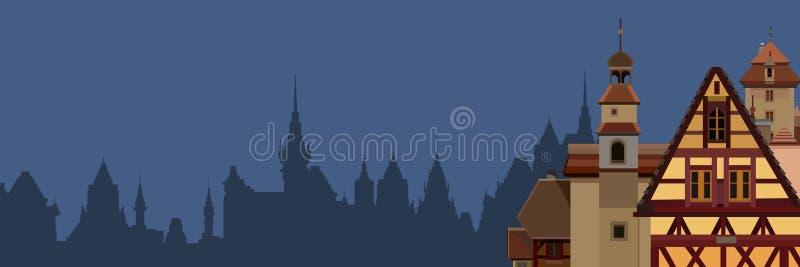 Fondo di una siluetta tirata di una città europea con le mezze case armate in legno illustrazione vettoriale