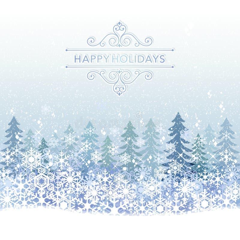 Fondo di vacanza invernale con paesaggio blu della neve illustrazione vettoriale