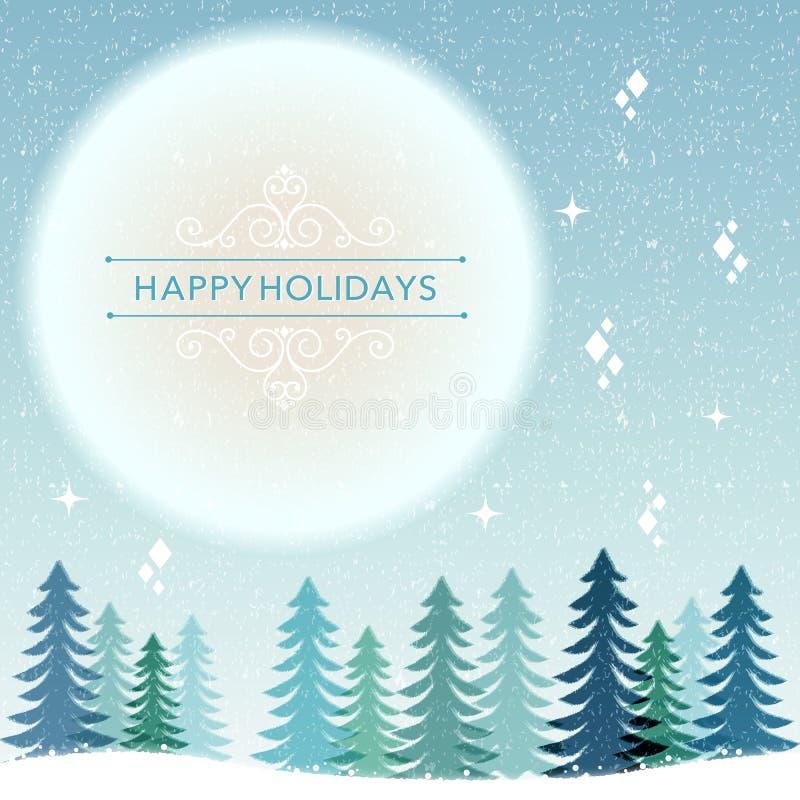 Fondo di vacanza invernale - notte di nevicata royalty illustrazione gratis