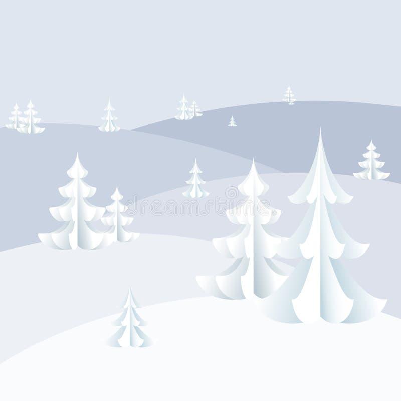Fondo di vacanza invernale sui cumuli di neve di Natale e del nuovo anno, fiocchi di neve sul paesaggio di inverno degli alberi d illustrazione vettoriale