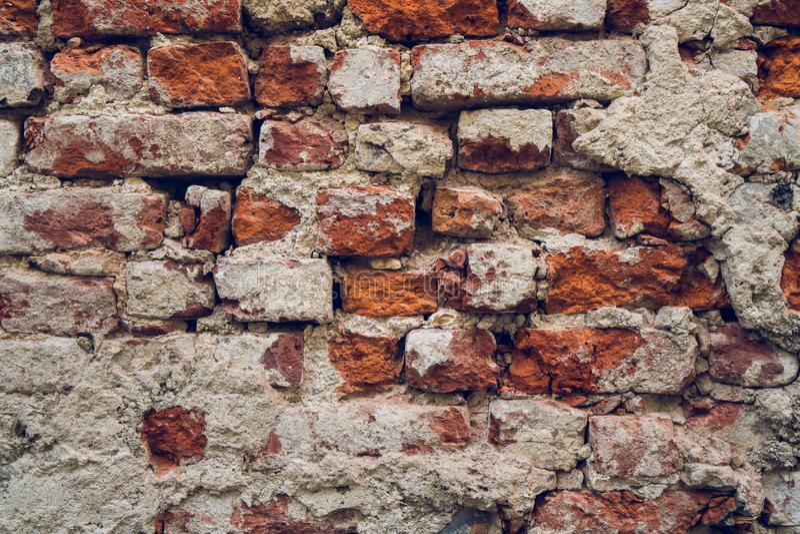 Fondo di vecchia struttura del muro di mattoni della crepa immagine stock