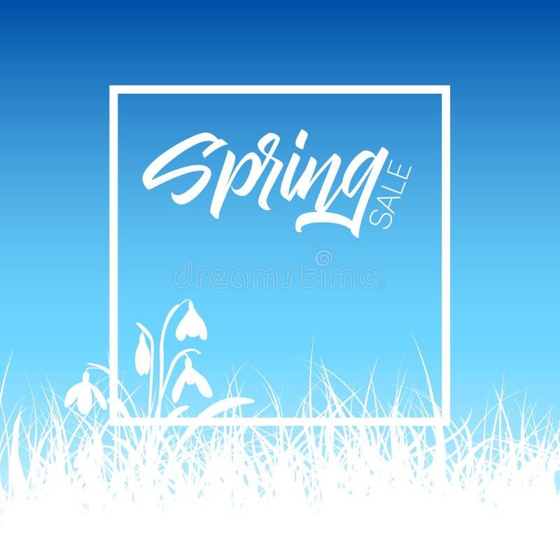 Fondo di vendita dell'erba di vettore della primavera illustrazione di stock