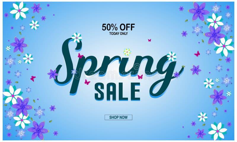 Fondo di vendita della primavera con il bello fiore variopinto Illustrazione di vettore, offerta di sconto del buono 50% royalty illustrazione gratis