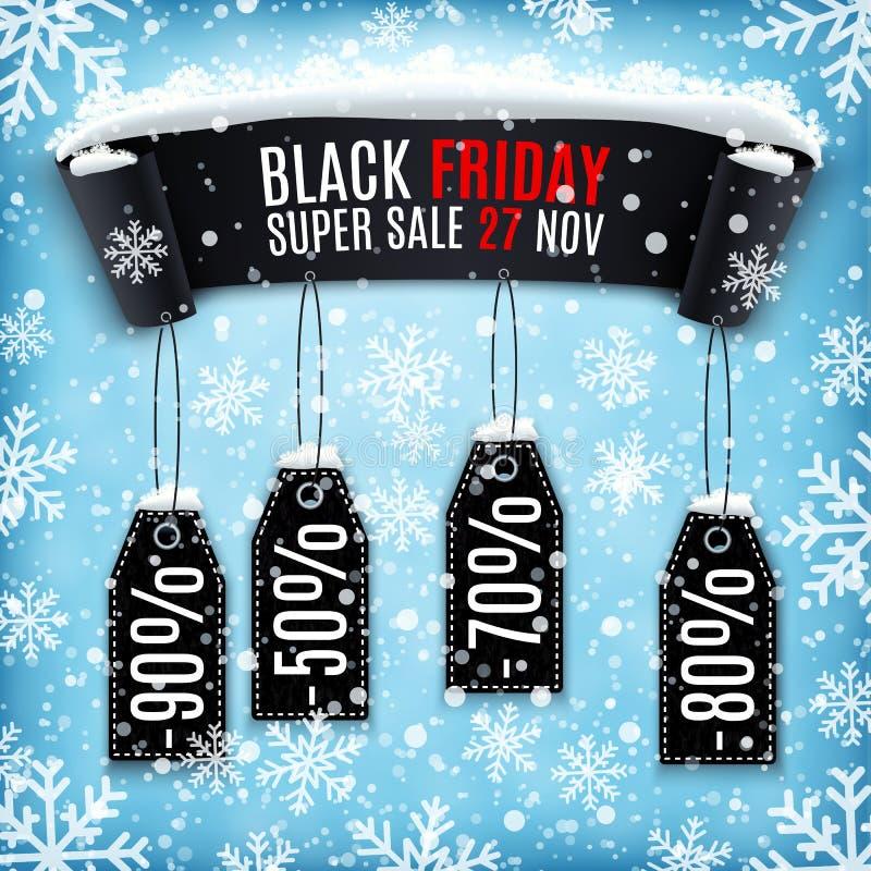 Fondo di vendita di Black Friday con l'insegna nera del nastro illustrazione vettoriale