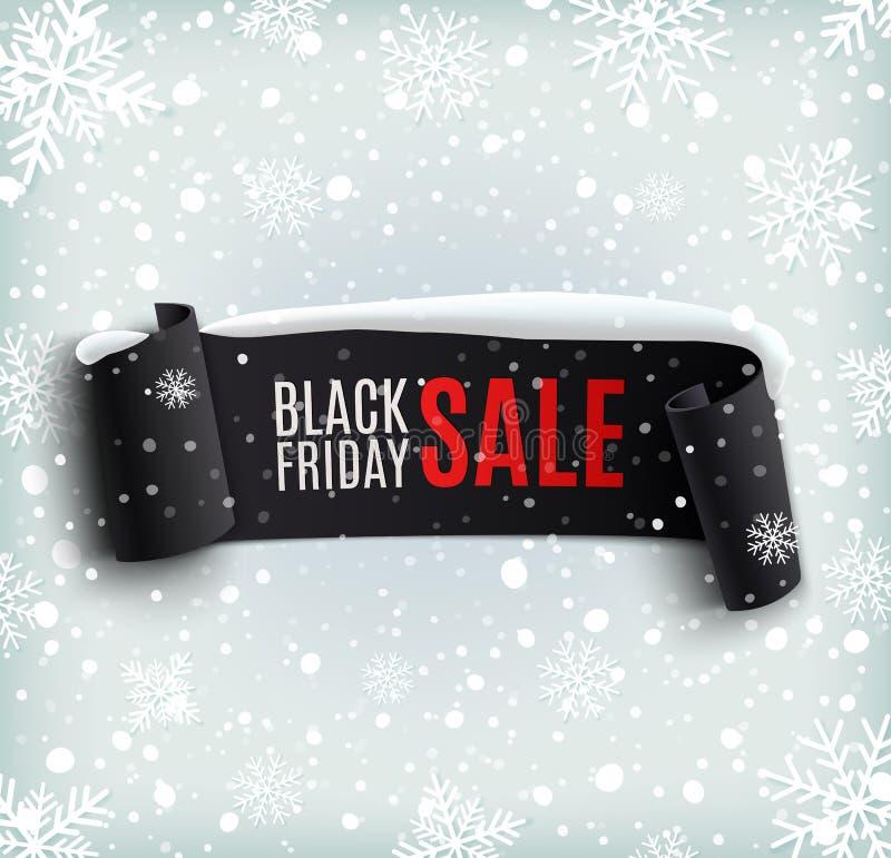 Fondo di vendita di Black Friday con realistico nero illustrazione di stock