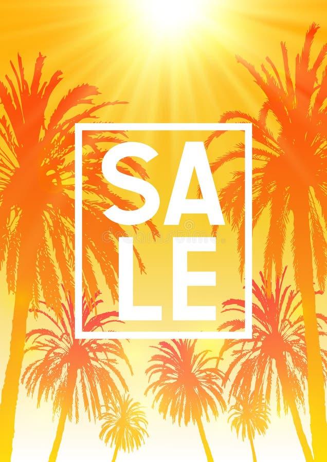 Fondo di vendita di estate con le siluette delle palme sul cielo arancio soleggiato royalty illustrazione gratis