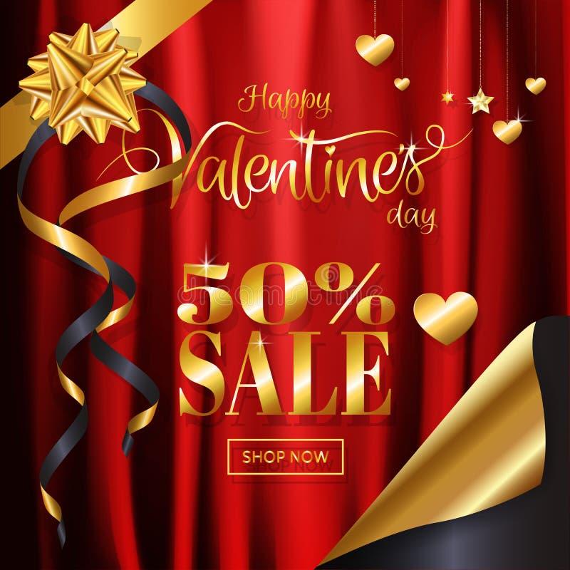 Fondo di vendita di San Valentino, panno rosso del raso con il nastro dell'oro, cuore, ornamentale a forma di stella illustrazione vettoriale