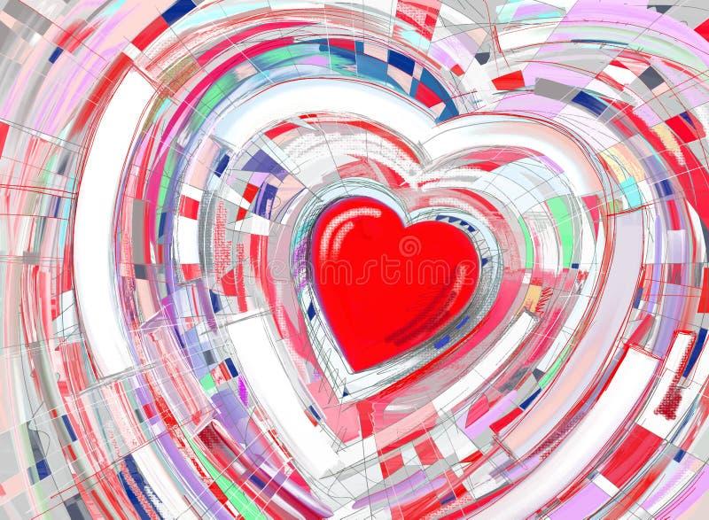 Fondo di verniciatura astratto di cuore rosso nei raggi rosa illustrazione di stock