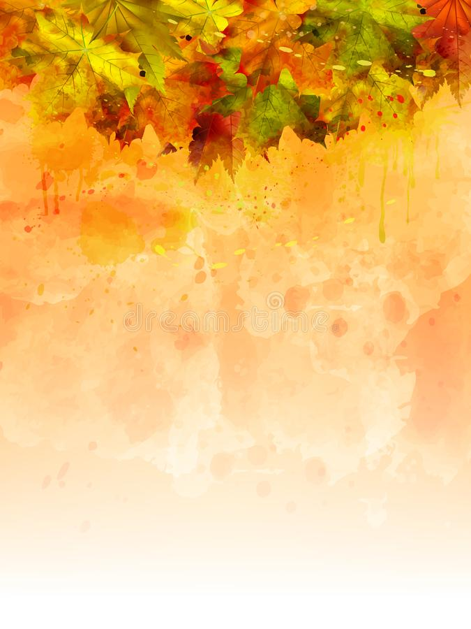 Fondo di verticale di autunno dell'acquerello di vettore illustrazione di stock