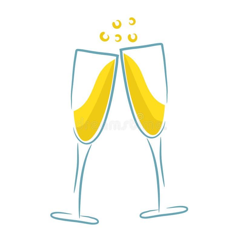 Fondo di vetro del menu del partito di progettazione di Champagne, illus di riserva di vettore illustrazione di stock