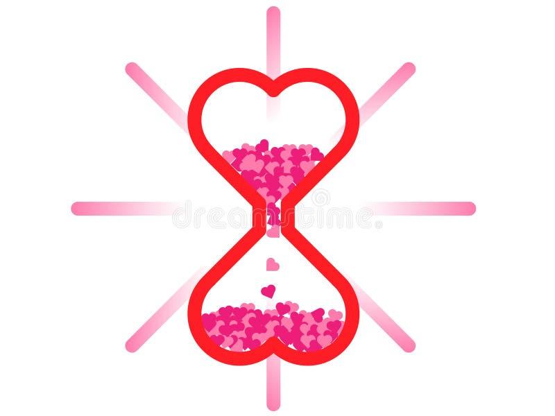 Fondo di vetro del ` s del biglietto di S. Valentino di Hart Sand immagini stock