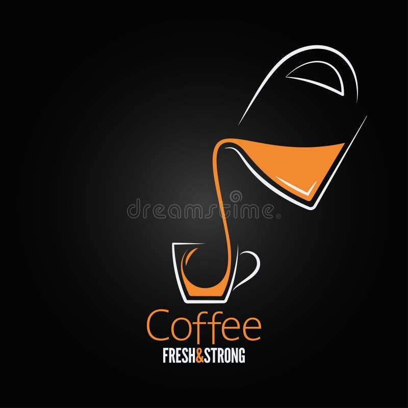Fondo di vetro di progettazione del vaso della tazza di caffè illustrazione di stock