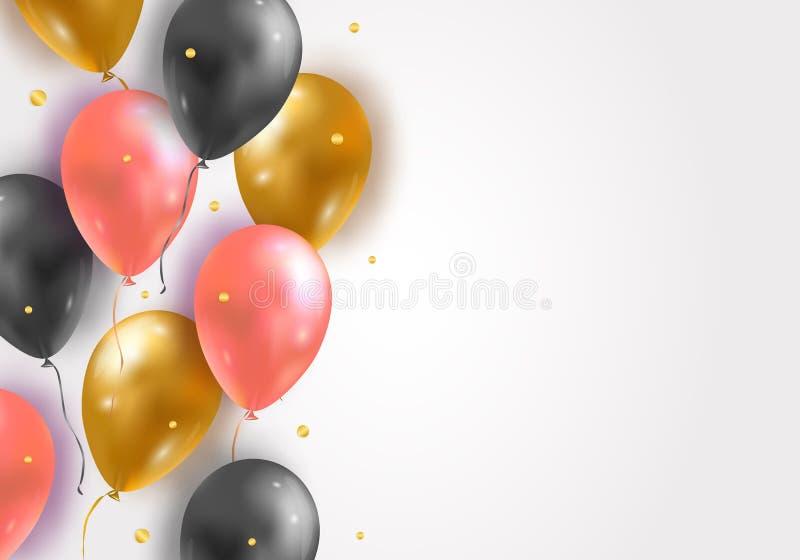 Fondo di vettore con i palloni ed i coriandoli lucidi di volo dell'aria 3d Faccia festa la decorazione per il compleanno, l'anniv illustrazione di stock
