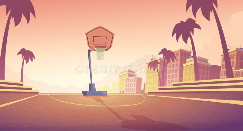 Fondo di vettore con il campo da pallacanestro in città royalty illustrazione gratis