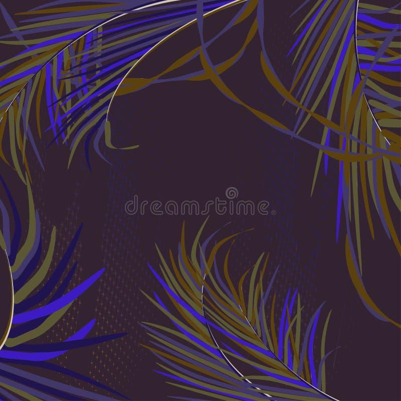 Fondo di vettore con le foglie di palma decorative in tropici su fondo scuro di cielo notturno Colori al neon d'avanguardia lumin royalty illustrazione gratis