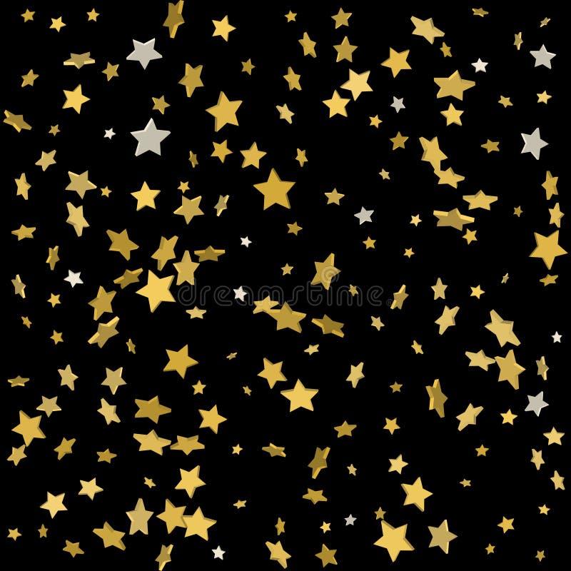 Fondo di vettore con le stelle d'oro 3d Fondo di feste illustrazione di stock