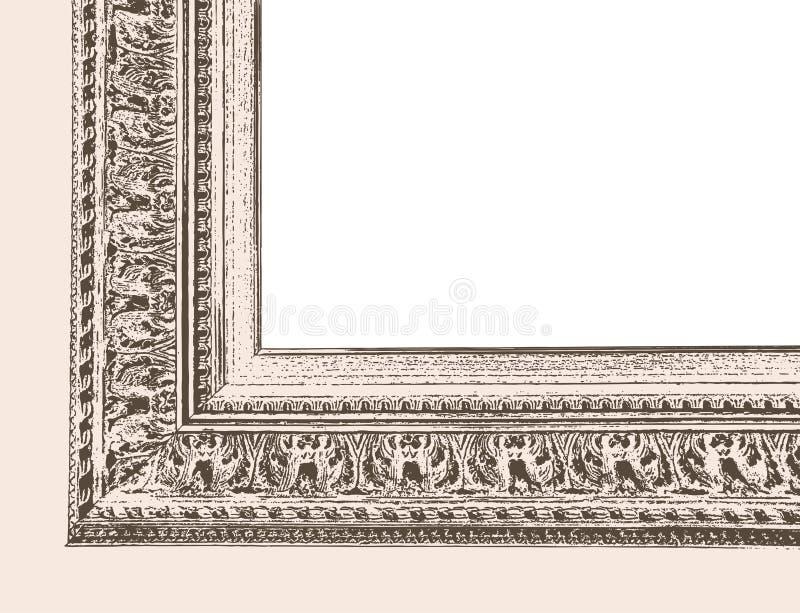 Fondo di vettore con un angolo di un telaio d'annata di legno illustrazione vettoriale