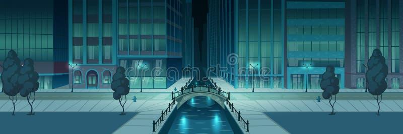 Fondo di vettore del fumetto dell'argine di notte della città illustrazione di stock