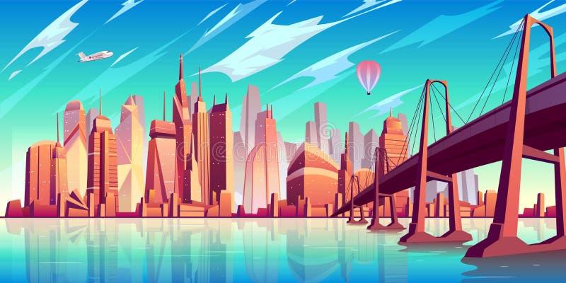 Fondo di vettore del fumetto dell'orizzonte della metropoli illustrazione vettoriale