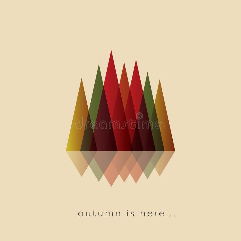 Fondo di vettore dell'estratto di caduta o di autunno con i colori tipici del fogliame Simbolo stagionale del paesaggio illustrazione vettoriale