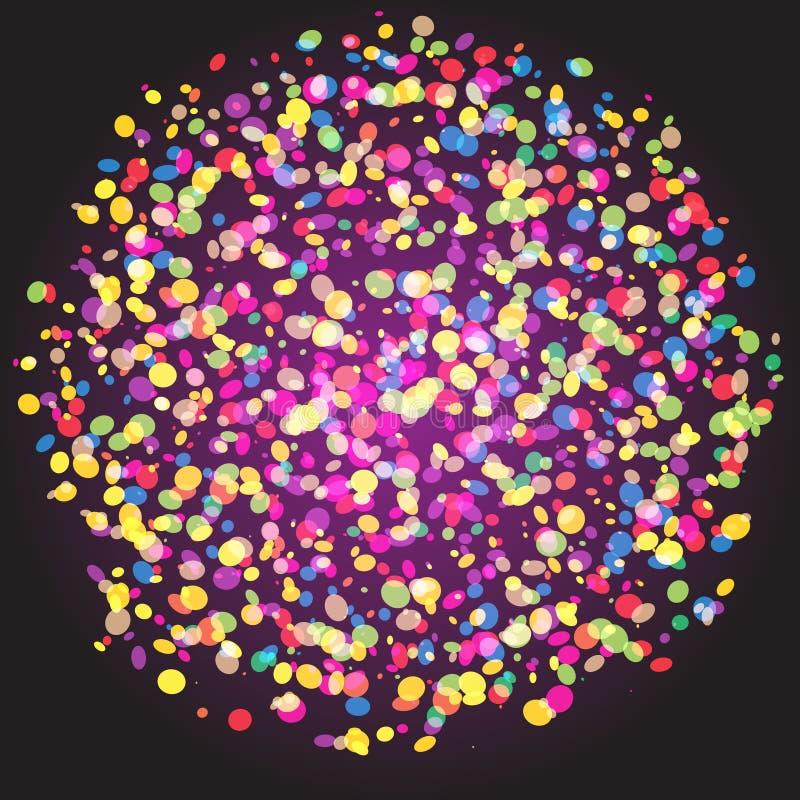Fondo di vettore dell'estratto della sfera delle particelle dei coriandoli illustrazione di stock