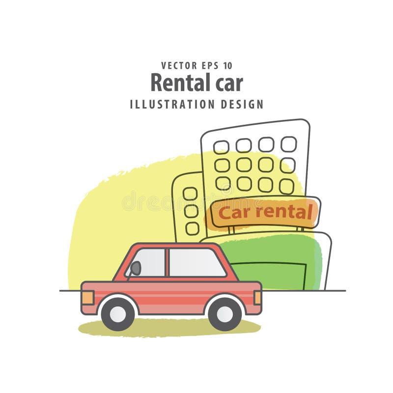 Fondo di vettore dell'illustrazione dell'automobile locativa concetto di corsa illustrazione vettoriale