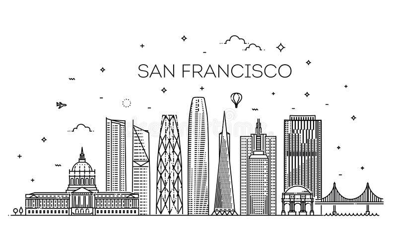 Fondo di vettore dell'orizzonte della città di San Francisco illustrazione di stock