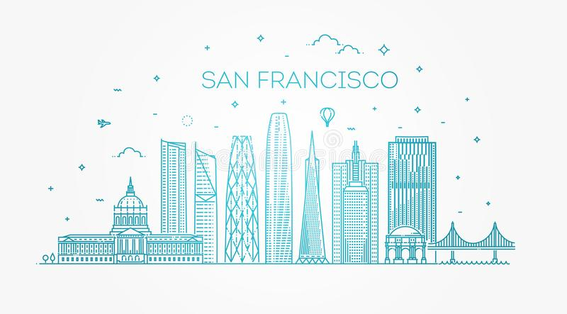 Fondo di vettore dell'orizzonte della città di San Francisco royalty illustrazione gratis