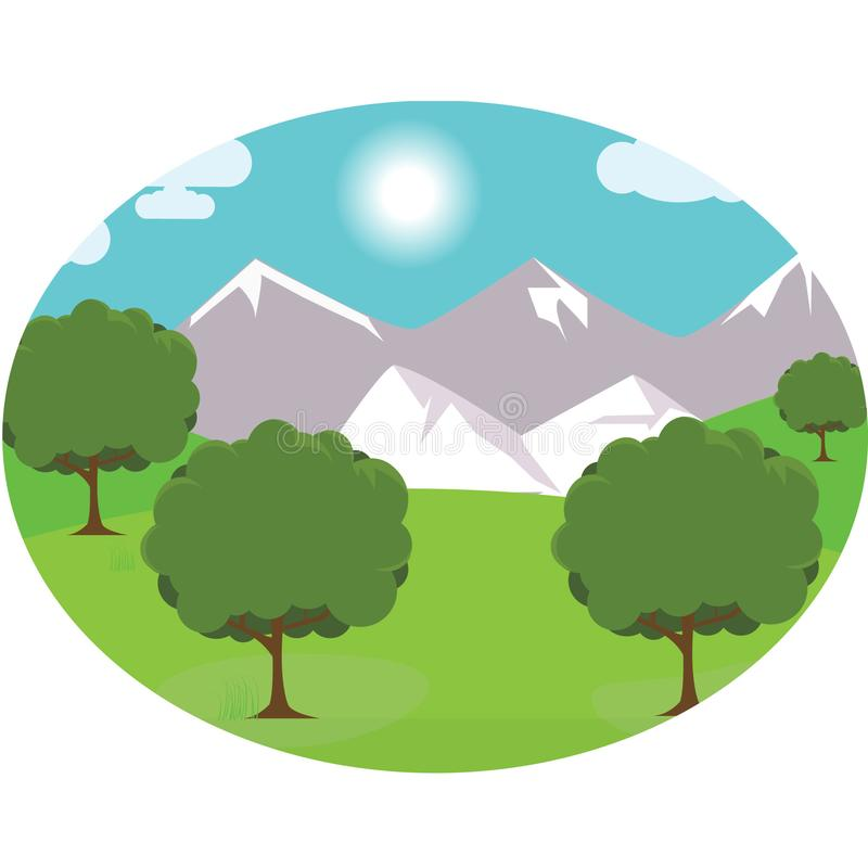 Fondo di vettore della montagna del prato di vista fotografie stock