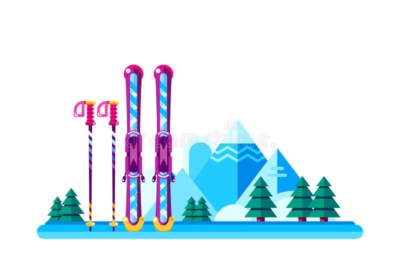 Fondo di vettore della stazione sciistica di inverno Le montagne della neve abbelliscono illustrazione vettoriale