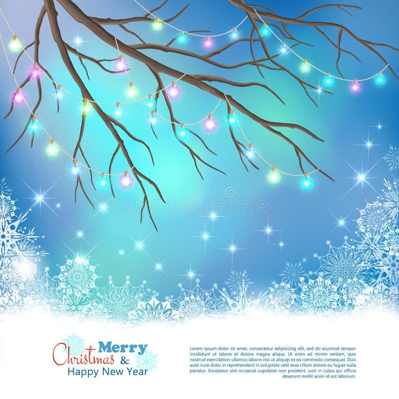 Fondo di vettore delle lampadine di Natale illustrazione di stock