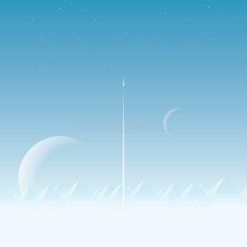 Fondo di vettore di concetto di esplorazione spaziale con i grandi pianeti nel cielo Lancio di razzo o della navetta spaziale in royalty illustrazione gratis