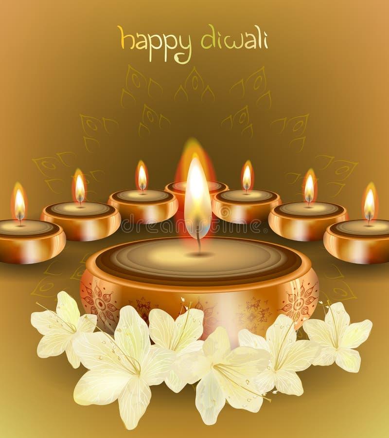 Fondo di vettore di Diwali con le candele ed i fiori festivi royalty illustrazione gratis