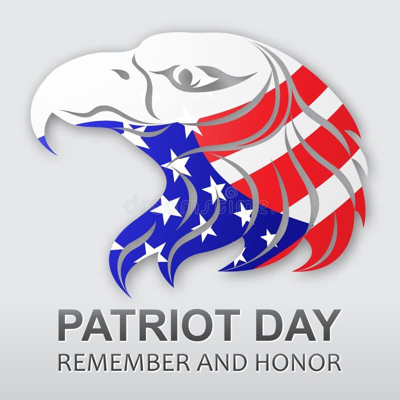 Fondo di vettore di giorno del patriota Bandiera americana Aquila americana Illustrazione di riserva di vettore illustrazione vettoriale