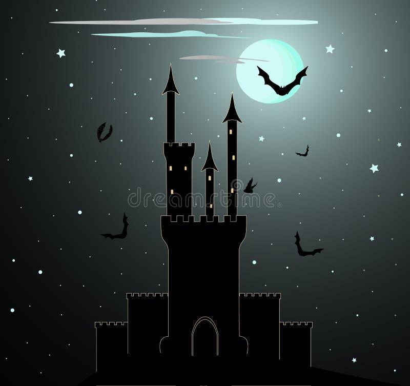Fondo di vettore di Halloween con il castello di Dracula illustrazione vettoriale