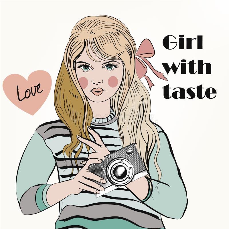 Fondo di vettore di modo con la ragazza d'avanguardia dei pantaloni a vita bassa illustrazione vettoriale
