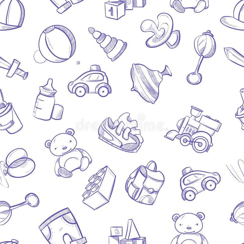 Fondo di vettore di scarabocchio dei bambini con i giocattoli Modello senza cuciture dei bambini disegnati a mano svegli illustrazione di stock