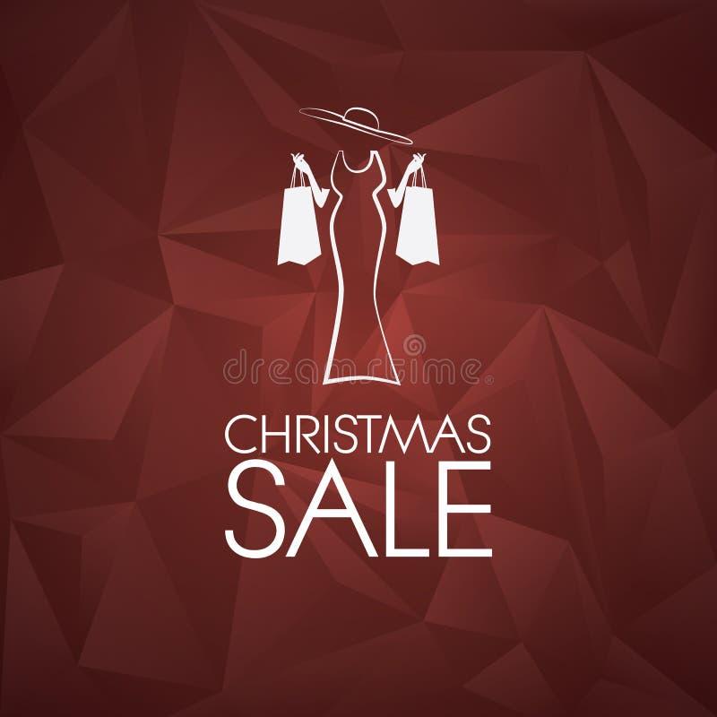 Fondo di vettore di vendita di Natale poli basso illustrazione vettoriale
