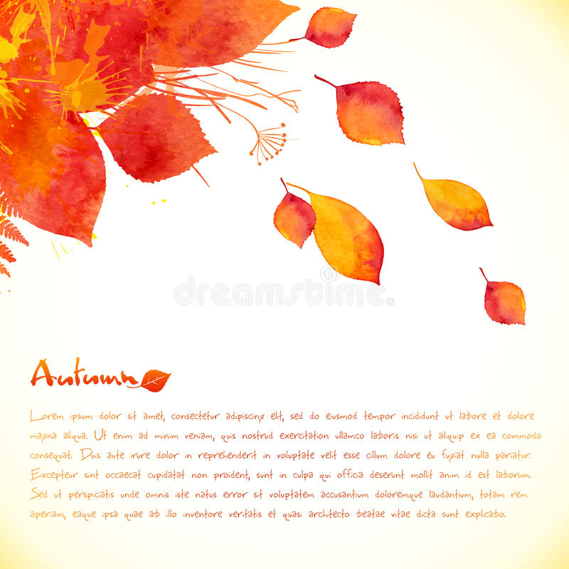 Fondo di vettore dipinto acquerello delle foglie di autunno illustrazione vettoriale