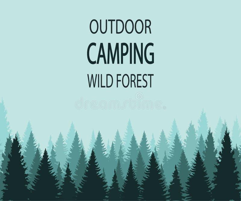 Fondo di VETTORE: foresta selvaggia di campeggio all'aperto illustrazione di stock