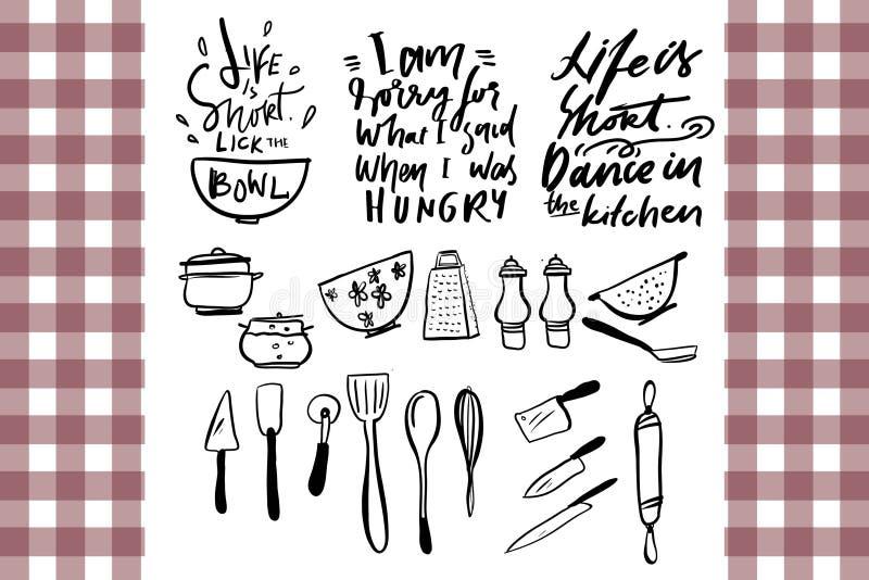 Fondo di vettore La vita è breve Ballo nella cucina Lecchi la ciotola Strumentazione della cucina illustrazione vettoriale