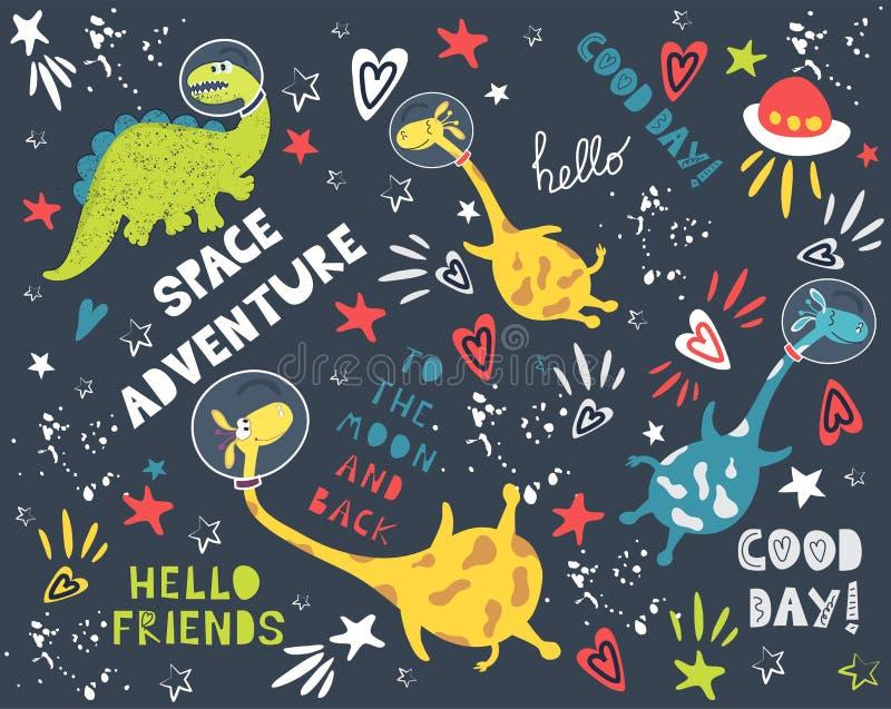 Fondo di vettore di modo con l'avventura dello spazio Pianeti e costellazioni royalty illustrazione gratis