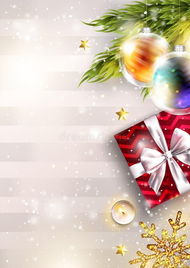 Fondo di vettore di Natale con lo spazio della copia Modello dell'invito Modello del grafico del buon anno 2019 Carta festiva di  illustrazione vettoriale