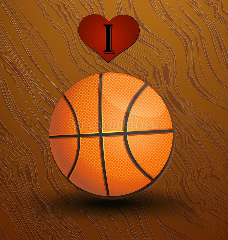 Fondo di vettore di pallacanestro e di amore illustrazione vettoriale