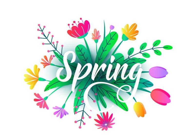 Fondo di vettore di parola della primavera con i fiori minimi piani, foglie isolate su bianco Progettazione grafica di primavera  illustrazione vettoriale
