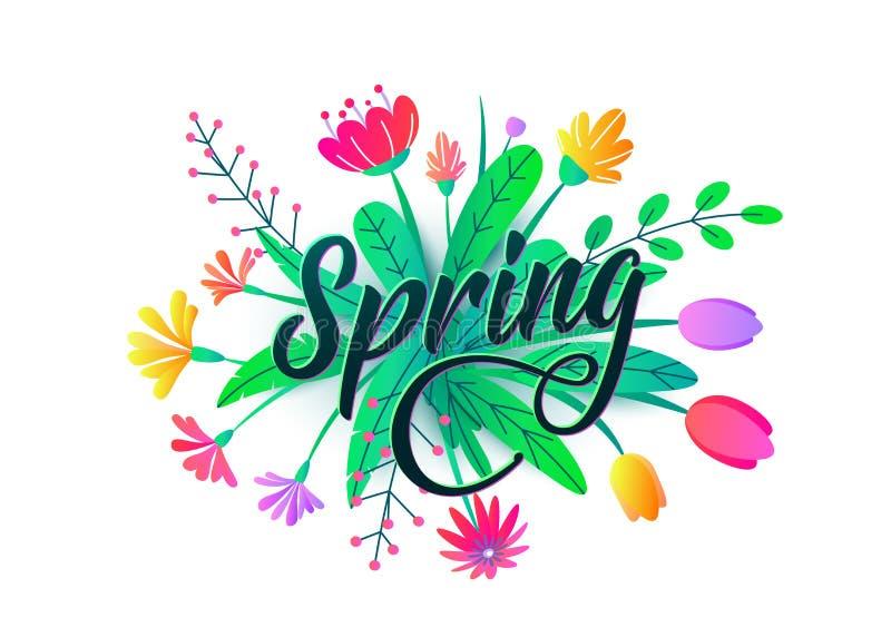 Fondo di vettore di parola della primavera con i fiori minimi piani, foglie isolate su bianco Progettazione grafica di primavera  royalty illustrazione gratis