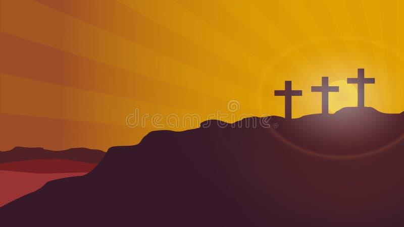Fondo di vettore di tramonto della montagna del calvario illustrazione di stock