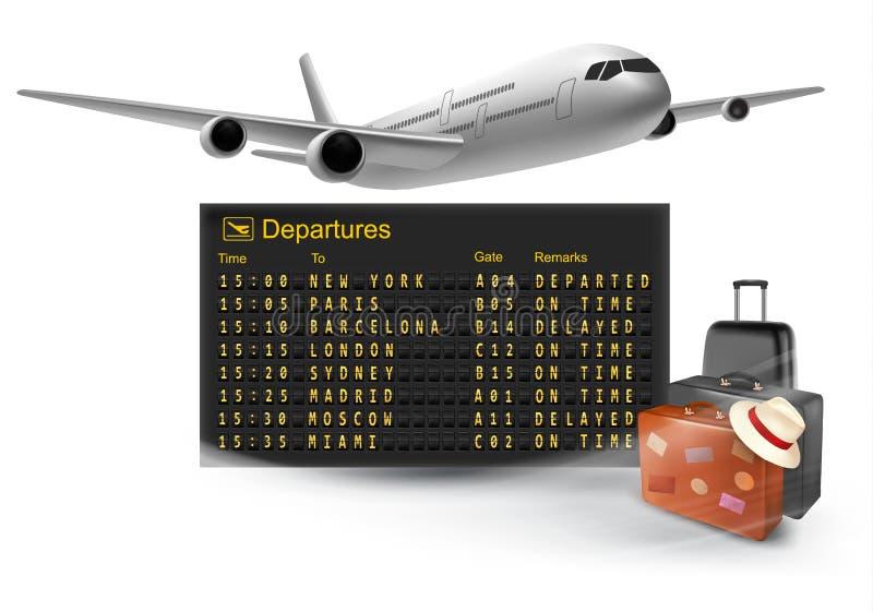Fondo di viaggio con il bordo meccanico di partenze illustrazione di stock